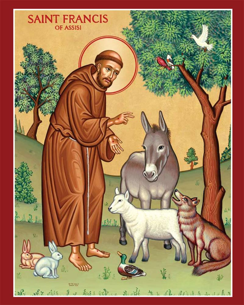 Photo of St. Francis of Assisi with animals